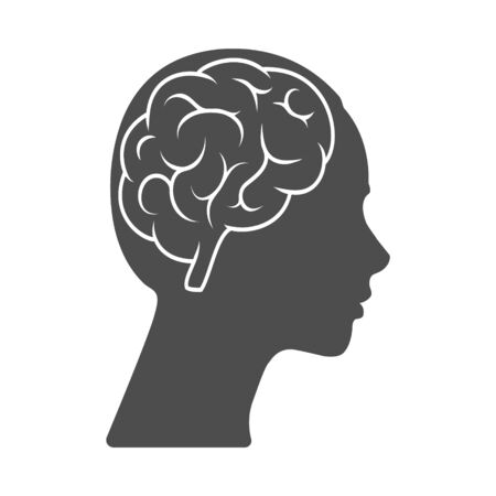 Illustration pour Vector icon of a female head with a brain. The silhouette is isolated on a white background. Simple design  - image libre de droit