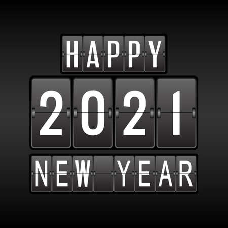 2021. Happy New year and merry Christmas on the tableau for calendar, postcard, banner. Vector template