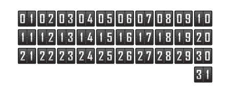 set of numbers from 1 to 31 on the cells of a mechanical tableau for a calendar or competition. Vector illustration
