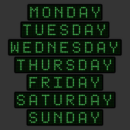 set of names of days of the week in the form of an electronic tableau in a green glow. Vector illustration.