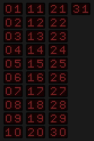 Numbers from 1 to 31 for a calendar or sports event in the form of an electronic scoreboard in red glow. Vector illustration.