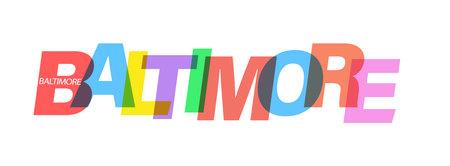 Illustration pour BALTIMORE. Lettering on a white background. Vector design template for poster, map, banner. Vector illustration. - image libre de droit