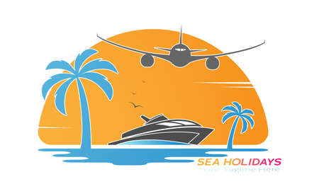 Illustration pour plane flies over a wave with a yacht and palm trees on the background of the sunset. Vector illustration for logo, emblem, sticker and creative design. Flat style - image libre de droit