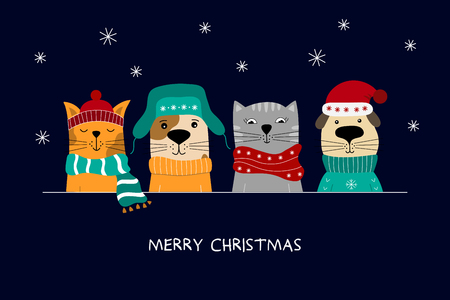 Ilustración de Merry Christmas illustration of cute cats and funny dogs. - Imagen libre de derechos