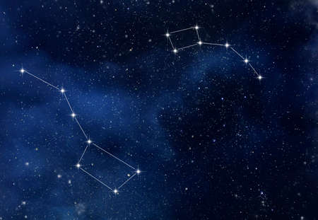 Photo for The constellation Ursa Major and Ursa Minor in the starry sky as background - Royalty Free Image