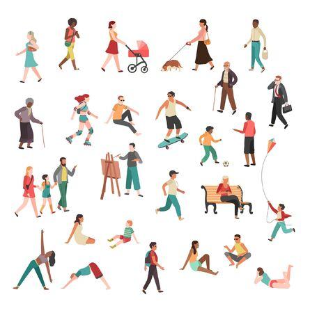 Ilustración de Men Women different kind of workout outdoor fitness, exercise illustration drawing cartoon characters - Imagen libre de derechos