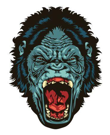 Illustration pour Angry gorilla head for logo design. Gorilla  head for TShirt or apparel design. - image libre de droit
