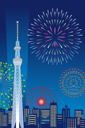 Tokyo Sky Tree and Fireworks, Vertical composition