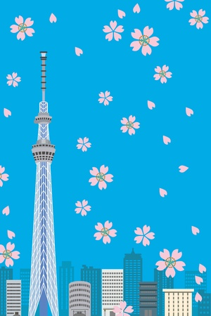 Tokyo Sky Tree and Cherry blossom, Vertical composition