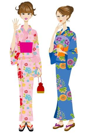 Two beautiful women wearing yukata