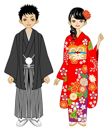 Young Couple wearing kimono -black and red