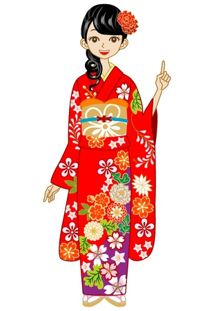 Red Kimono woman