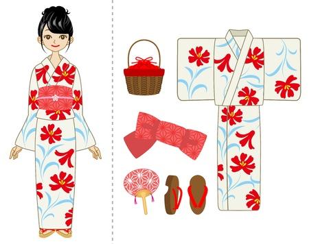 Yukata woman and Item set