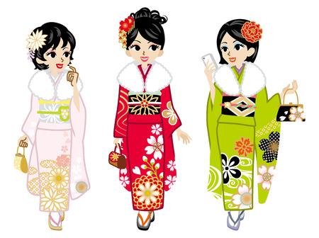 Three Kimono girls