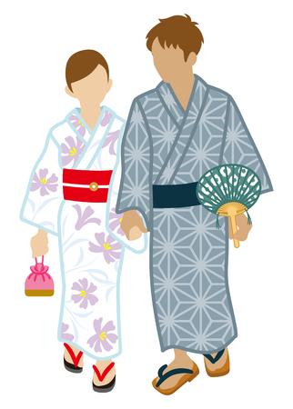 Japanese Yukata couple, Isolated
