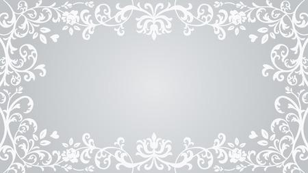 Photo pour Floral plants Frame - Silver color - image libre de droit