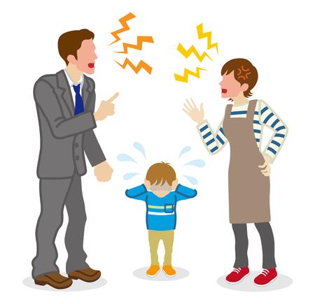 Illustration pour Anonymous Quarreling Parents and crying son - image libre de droit