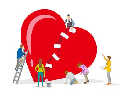 Ilustración de Repair of heart - Mental health Concept art - Imagen libre de derechos