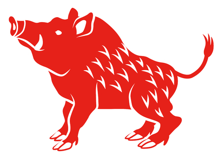 Illustration for Wild Boar -Side view, Flat style - Royalty Free Image