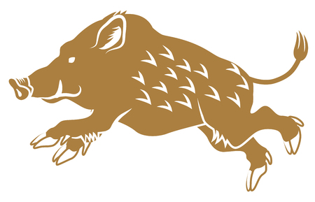 Illustration for Running Wild Boar -Side view, Flat style - Royalty Free Image