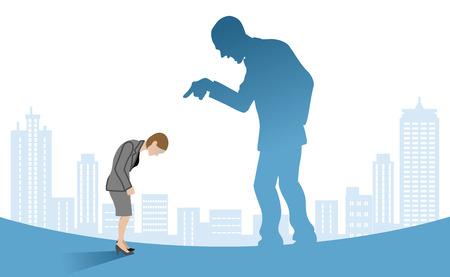 Ilustración de Businesswoman who is blamed by boss - Power Harassment concept art - Imagen libre de derechos