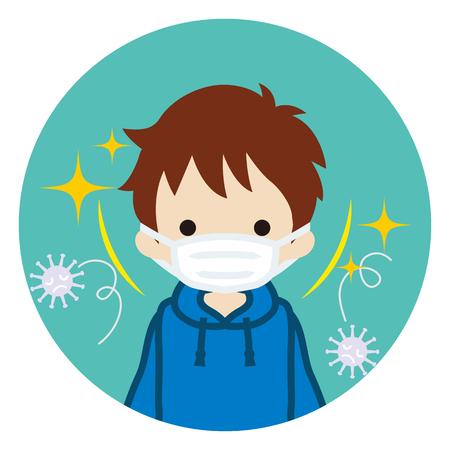 Illustration pour Toddler boy wearing a mask for prevent flu virus - front view, Circular icon - image libre de droit