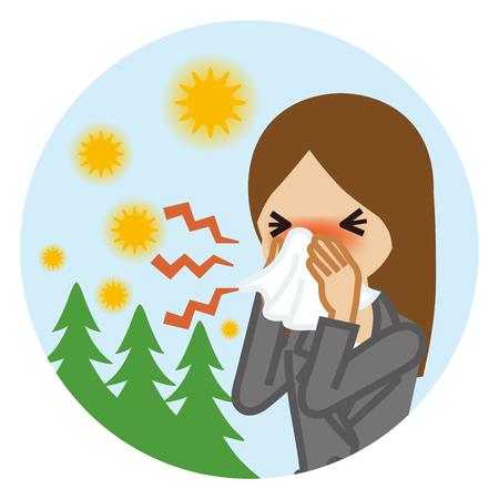 Ilustración de Businesswoman blowing nose with a tissue - Hay fever concept art - Imagen libre de derechos