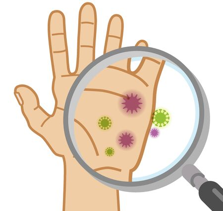 Illustration pour Checking hand cleanliness by magnifying glass - dirty - image libre de droit