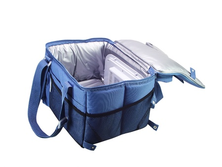 Blue  cooler bag on a white background