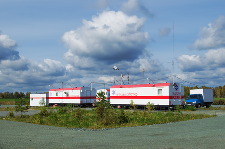 SVERDLOVSK REGION, RUSSIA - SEPTEMBER 12, 2015: Station medical assistance, equipped on Federal highway