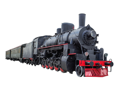 Photo for Train with steam locomotive series Ov.  isolated on white background - Royalty Free Image