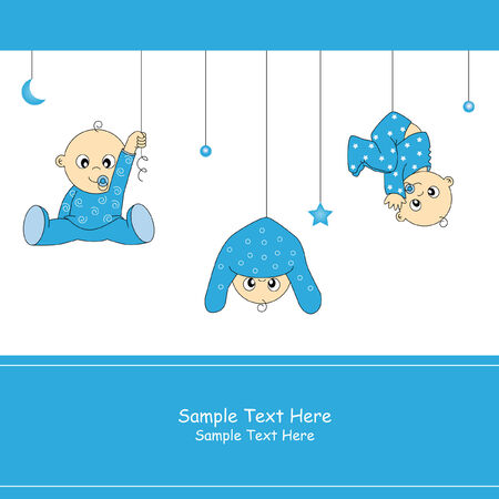Illustration for Baby boy arrival card  - Royalty Free Image