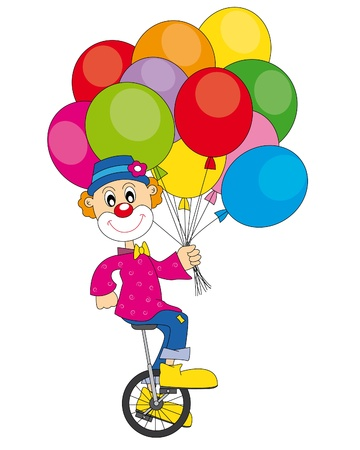 Clown bicycle. Vector art-illustration on a white background.