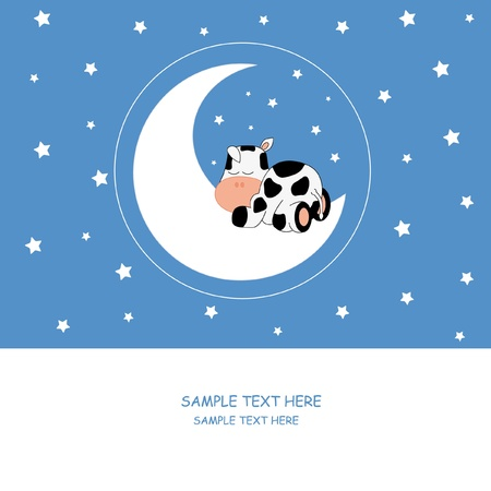 Baby boy arrival announcement card. Cow sleeping on the moon