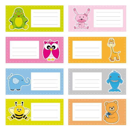 Photo for Back to school stickers with cute animals - Royalty Free Image