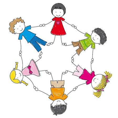 illustration children holding hands in a circle