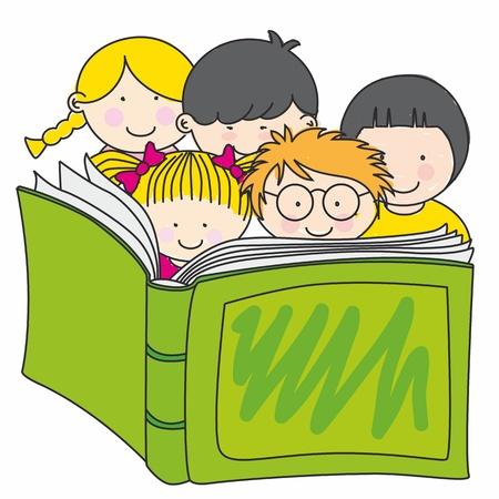 Illustration pour children reading a book - image libre de droit