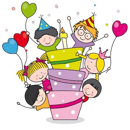 Birthday card  Children at birthday party