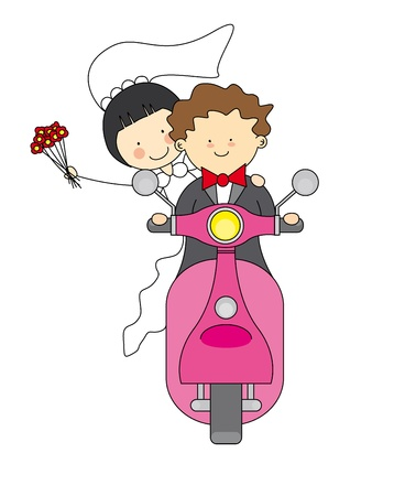 wedding invitation  Just married by motorcycle