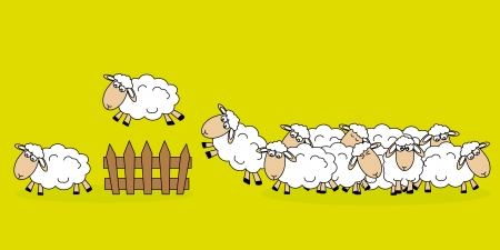 Stickers children room  Sheep jumping a fence