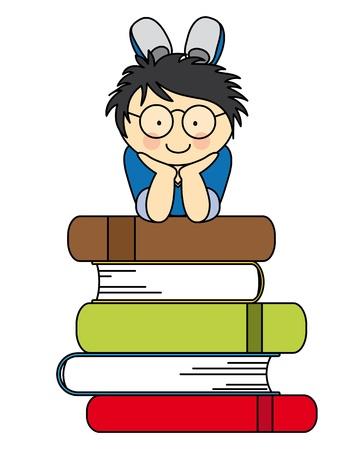 Illustration pour boy with many books. fun illustration of back to school - image libre de droit