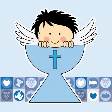 Illustration pour Angel in the holy grail. First communion card - image libre de droit