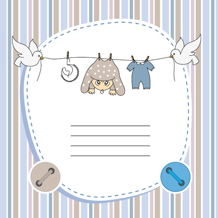 Illustration for Baby boy card. Space for text - Royalty Free Image