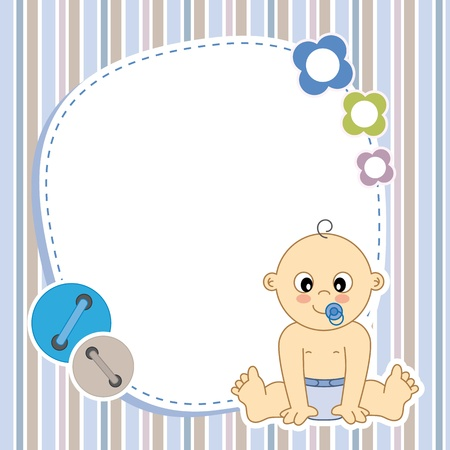 Illustration for Baby boy card  Space for photo or text - Royalty Free Image
