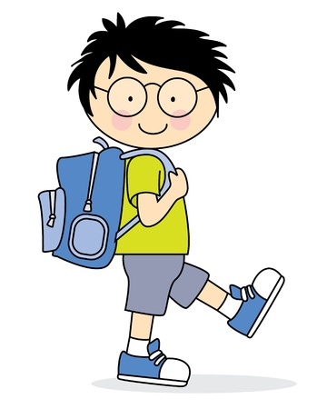 Illustration pour Child who goes to school with a backpack - image libre de droit