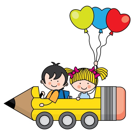 Illustration pour kids riding a pencil car - image libre de droit
