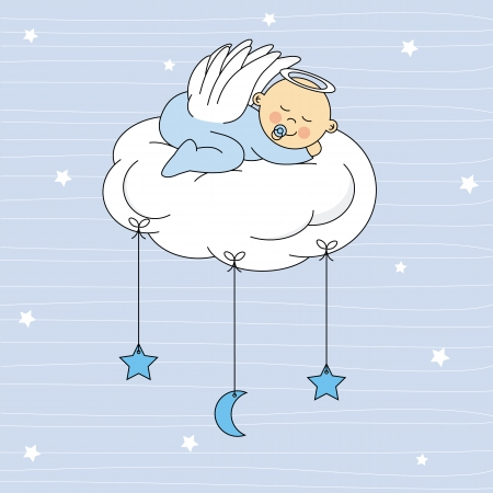 Illustration for baby boy sleeping on a cloud  Birthday Card  - Royalty Free Image