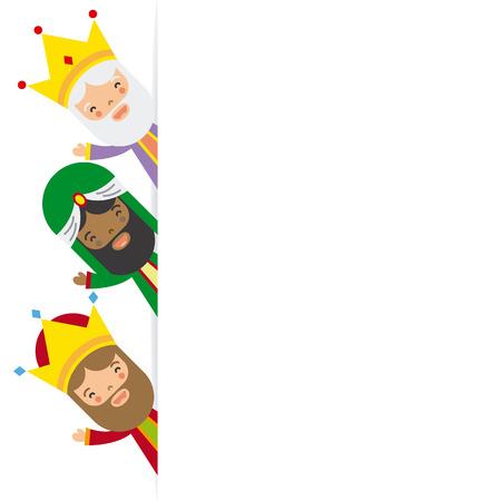 Illustration pour three kings of orient. blank space - image libre de droit