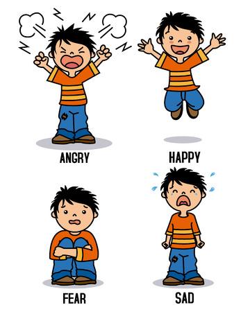 Ilustración de Boy emoticon showing different emotions. Happy, angry, sad and scared - Imagen libre de derechos