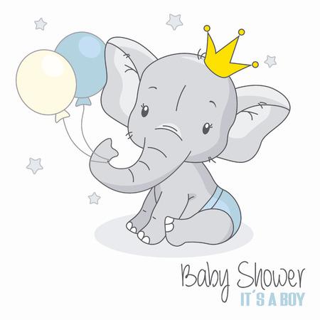 Ilustración de baby shower boy. Cute elephant with balloons. - Imagen libre de derechos